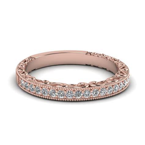 milgrain hand engraved diamond wedding band   rose