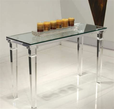acrylic clear chateau sofa table with glass top