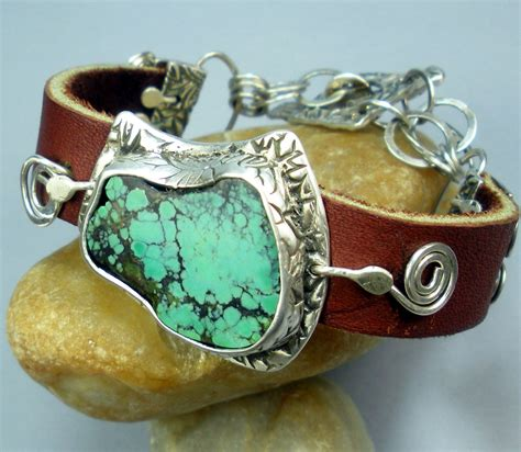 Leather Bracelet Handmade - buy handmade silver turquoise and leather bracelet