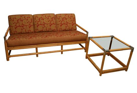bamboo loveseat mid century ficks reed bamboo sofa and table omero home
