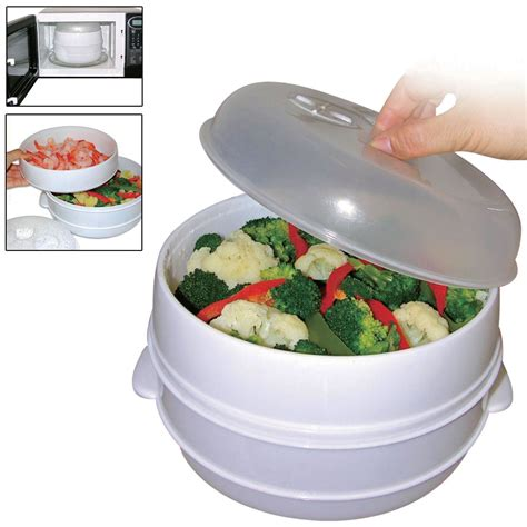 2 tier microwave steamer healthy meal vegetables fish kitchen steamer pan potnew ebay
