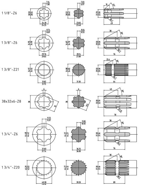 Splined dimensions for PTO drive shafes