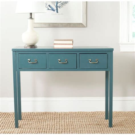 Teal Console Table Safavieh Teal Storage Console Table Amh6568h The Home Depot