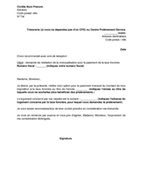 Demande De Tutelle Lettre Lettre De R 233 Siliation De L Option Pour Le Paiement Par Mensualisation De La Taxe Fonci 232 Re