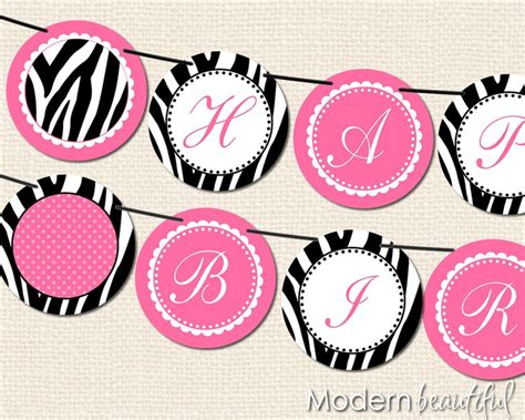 free printable zebra birthday banner black and hot pink zebra chic printable banner happy
