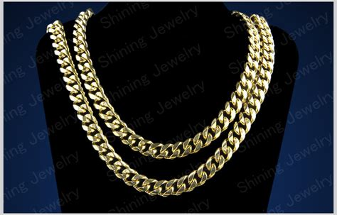 cadenas cubanas stainless steel 36 quot long heavy 316l stainless steel mens 13mm gold cuban