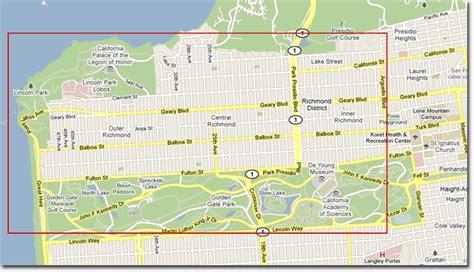 san francisco map richmond district richmond district san francisco