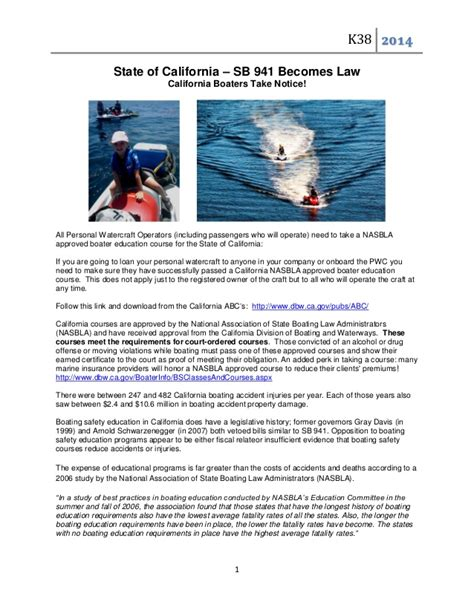 california boating safety course sb 941 becomes law in california for boating safety and