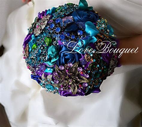 purple green blue peacock wedding broach bouquet by sale ready to ship purple teal blue emerald wedding