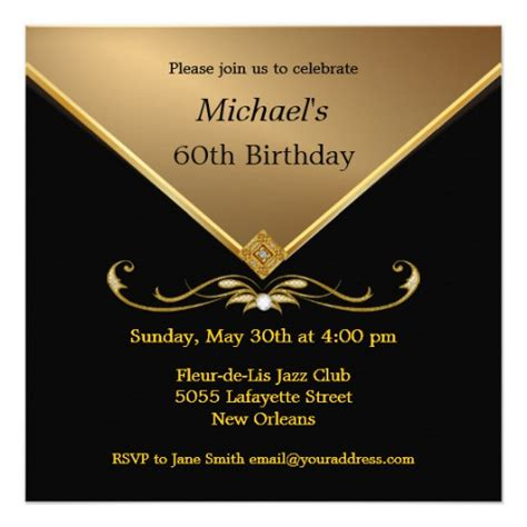 Invitation Letter For 60th Birthday S Gold Black 60th Brithday Invitations