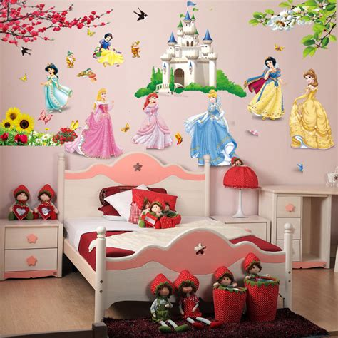 removable diy seven princess birds flower castle wall