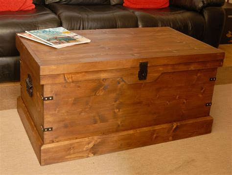 wooden trunk wooden chest trunk large pine ottoman coffee vintage