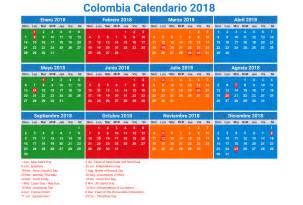 calendario 2018 colombia con feriados para imprimir