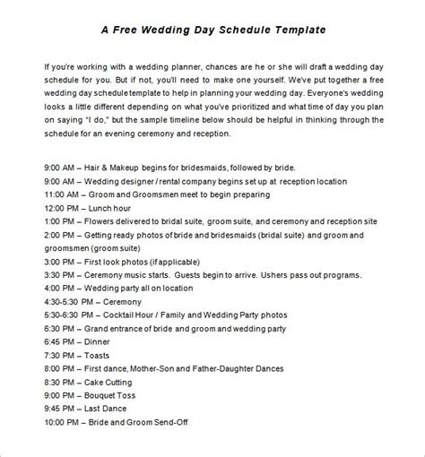 wedding timeline template 35 free word excel pdf psd