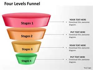 four levels of filter sales funnel split separated ppt