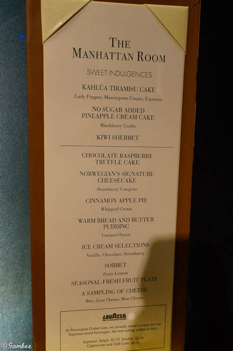 ncl breakaway room service menu menu lists and much more cruise with gambee