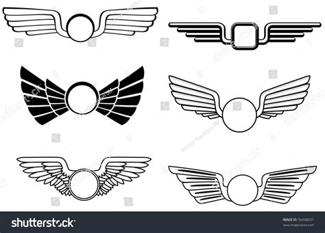 emblem template shield wings emblem logo template vector stock