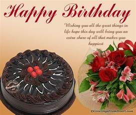 birthday greeting with chocolate cake and bouquet of flowers