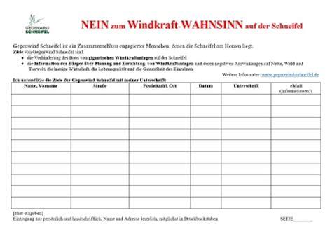 Word Vorlage Unterschriftenliste Home Www Gegenwind Schneifel De