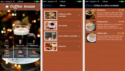 coffee shop design app hot new mobile app templates to get your business