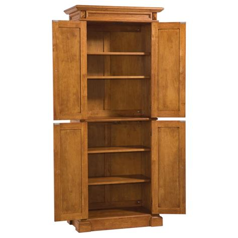 Kitchen Pantry Cabinets Home Styles Americana Solid Hardwood Cottage Oak Finish Pantry Cabinet Ebay