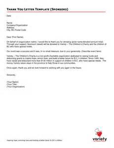 sponsorship thank you letter template thank you for sponsorship letter sle