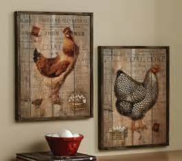 Rustic Kitchen Wall Decor by Rustic Rooster And Hen Country Wall Decor Set
