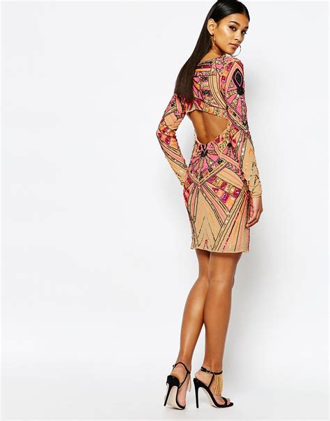 Dress Midi Kalung Premium lyst wow couture premium embellished midi dress with open back detail