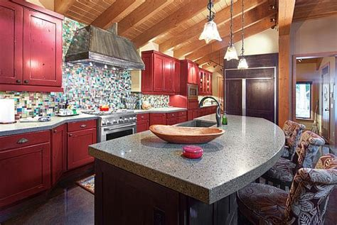 red kitchen cabinet traditional kitchen with dark red cabinets decoist