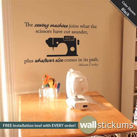 Wall Sticker Phrases items similar to wall decal sewing quote vinyl wall art