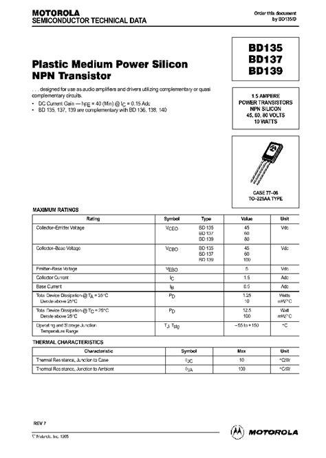 datasheet transistor npn bd139 bd135 152914 pdf datasheet ic on line