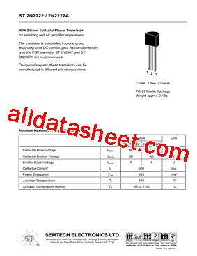 datasheet of transistor 2222a st2n2222a datasheet pdf semtech electronics ltd