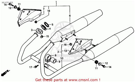 honda rebel 250 parts diagram honda cmx250c rebel 250 1986 usa muffler schematic