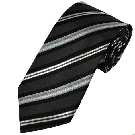 black grey striped silk tie from ties planet uk