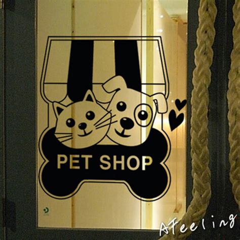 wall sticker store store glass window door sticker cat pet food shop sign