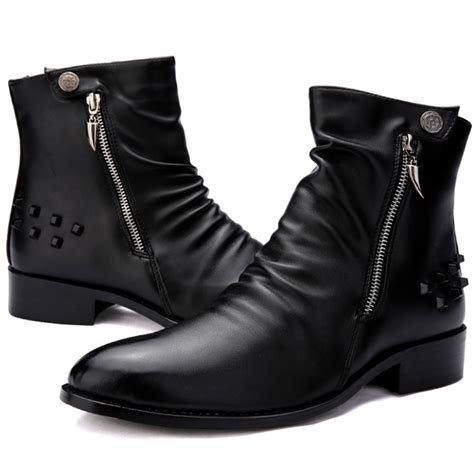stylish mens leather boots cool fashion rocky ankle boots mens quality leather