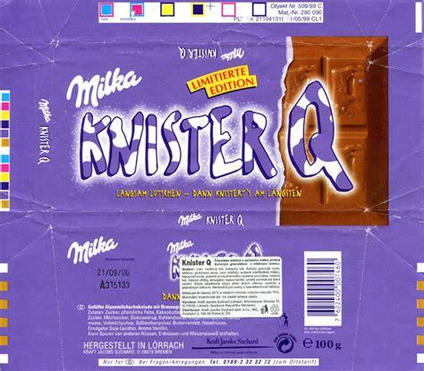 chocolate wrapper 4017 germany milka 1999