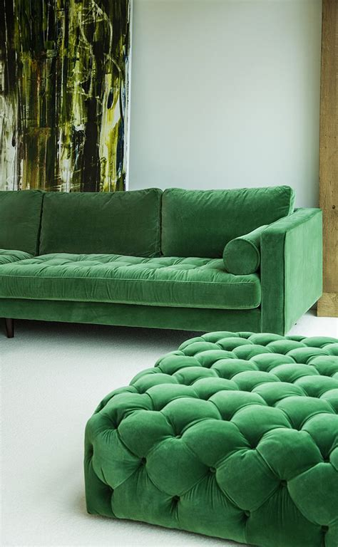 modern green velvet sofa 25 best ideas about green sofa on green