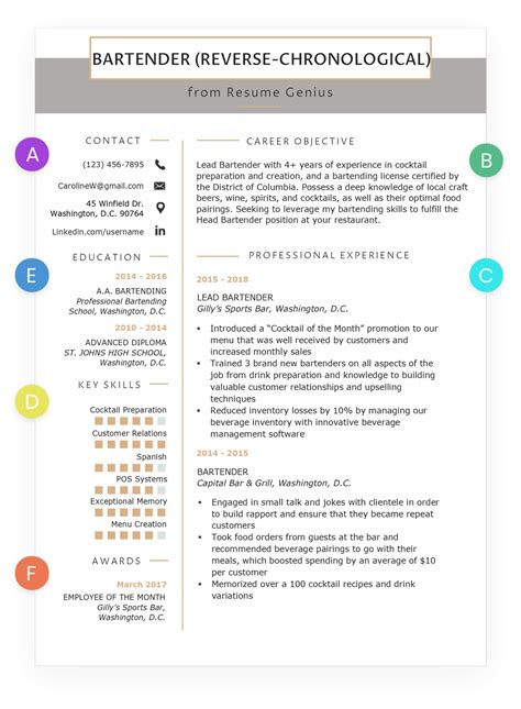 reverse chronological resume example sample