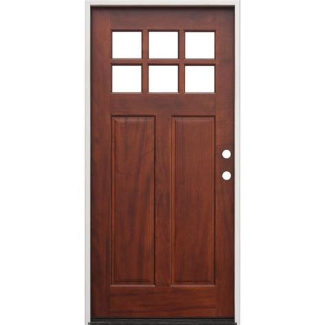 creative entryways craftsman craftsman clear glass left hand inswing pecan mahogany stained wood