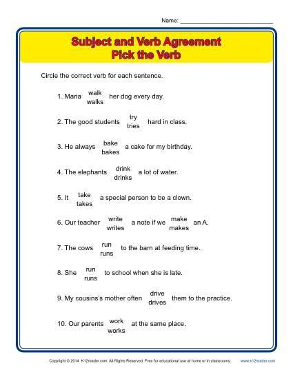 pattern of subject verb agreement pick the verb subject verb agreement worksheets and