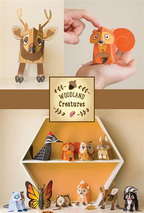 printable animal toys woodland animal toys printable kids gift diy papercraft