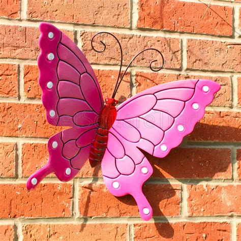 metal garden wall outdoor butterfly outdoor ext lrg new pink metal butterflies