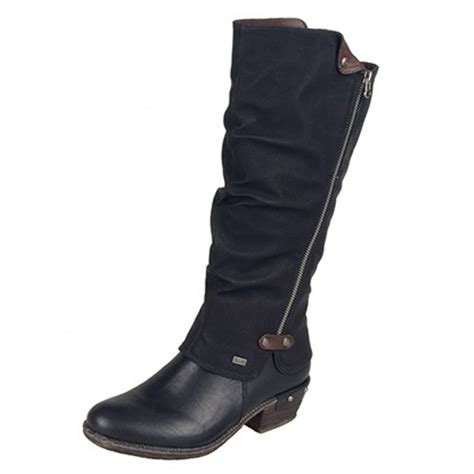 rieker black low heel boot