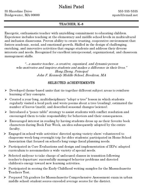 Resume Sle For Elementary Sle Elementary Resume 28 Images Az Resume Sales