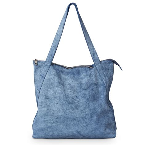 Bag Denim blue denim leather shopper bag oliver bonas