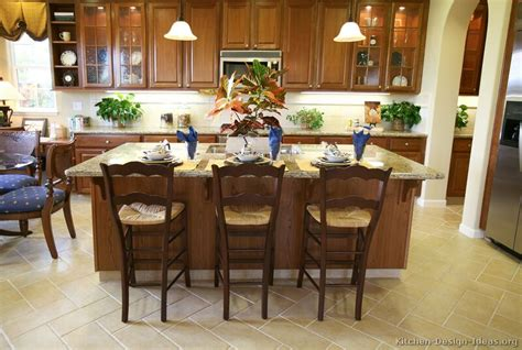 Wood Kitchen Island With Seating Pictures Of Kitchens Traditional Medium Wood Cherry