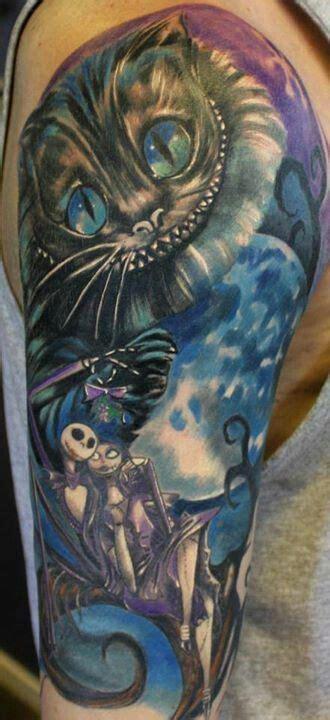 tim burton tattoo sleeve nightmare before skellington cheshire cat
