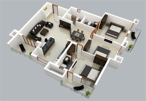 Open Two Story Floor Plans by Plano 3d De Casa De Un Solo Nivel Construye Hogar