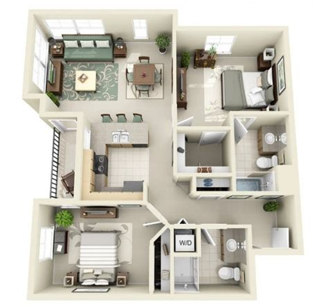 Two Bedrooms by Designeer Paul 2 Bedroom Apartment House Plans